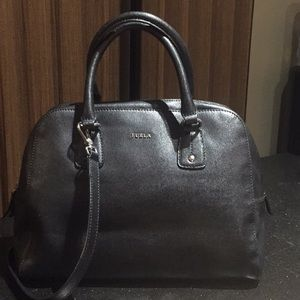 Furla Black double top handle with body strap